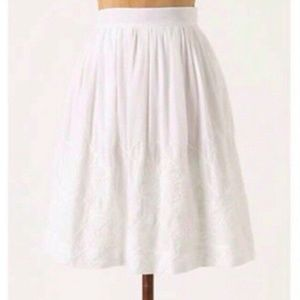 White Embroidered Skirt - Floreat/Anthropologie